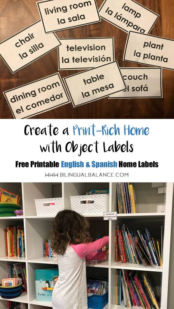 Create a print-rich home using object labels.  Encourage language and literacy growth.  FREE printable labels in English and Spanish.