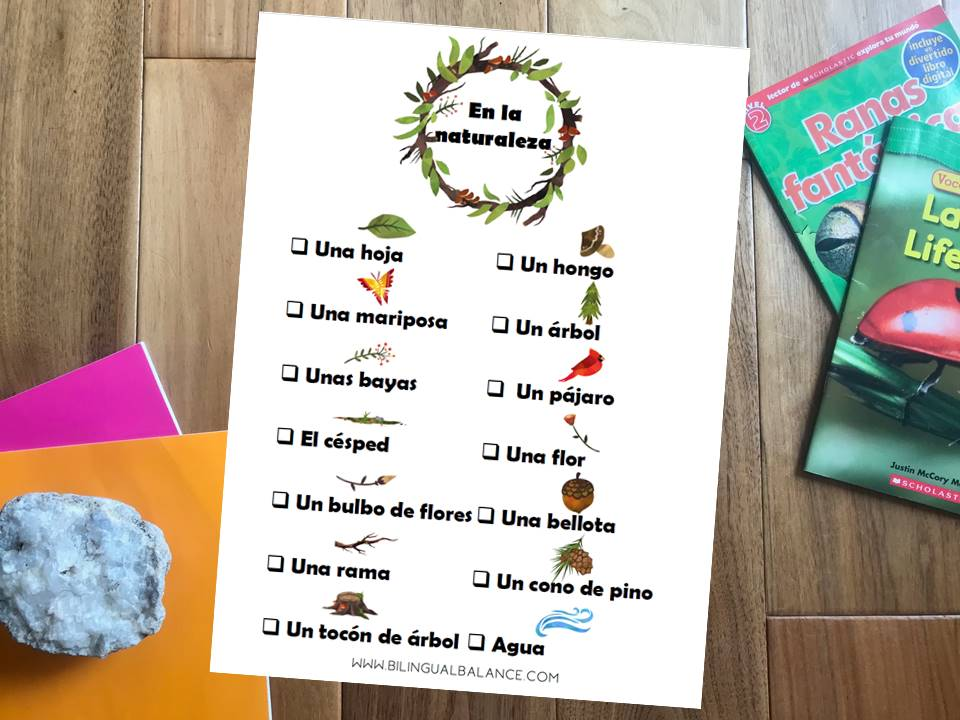 Ideas for learning language and new vocabulary with kids outside in nature.