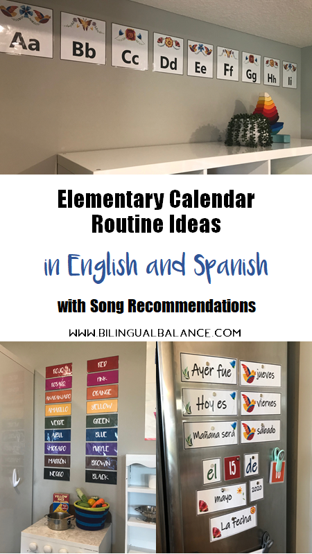 Elementary calendar routine ideas in English and Spanish with song recommendations.