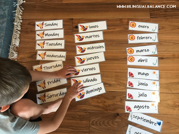 Calendar routine ideas in English and Spanish for elementary students.