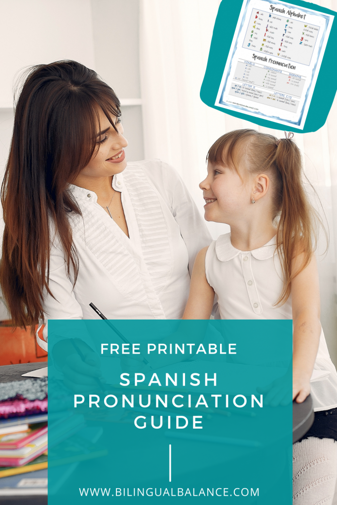 Free printable Spanish pronunciation guide for parents from Bilingual Balance.