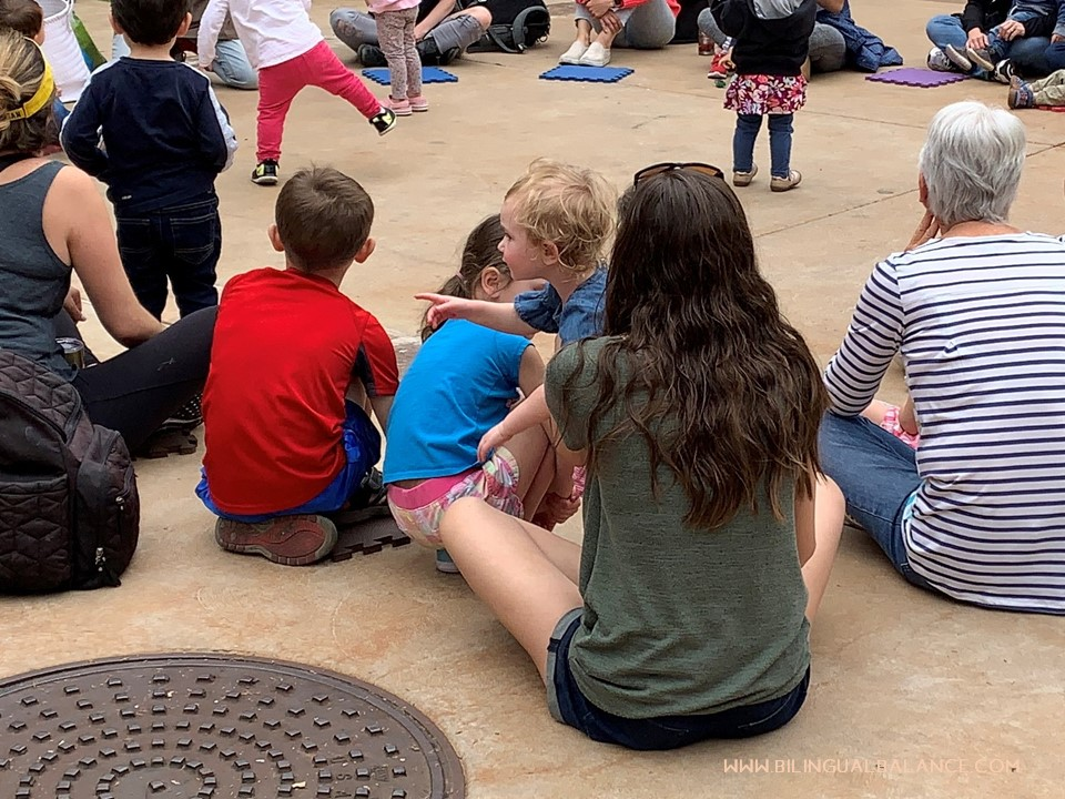 Enjoying story time together.