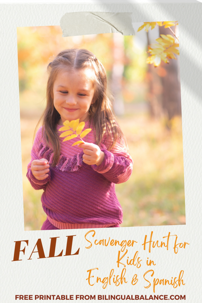 Fall Scavenger Hunt for Kids in English & Spanish from Bilingual Balance.