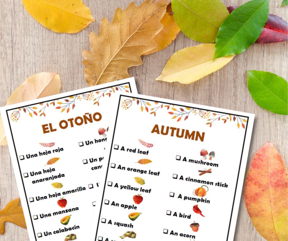 Fall Scavenger Hunt for Kids in Spanish & English
